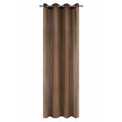 Zasłona dwuwarstwowa z delikatną siatką brązowa przelotki 135x300cm - 140 X 300 cm - brązowy 5