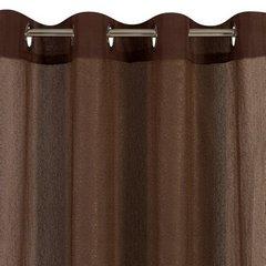 Zasłona dwuwarstwowa z delikatną siatką brązowa przelotki 135x300cm - 140 X 300 cm - brązowy 4