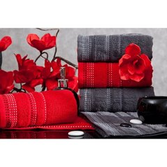 Ręcznik z bawełny z ozdobnym stebnowaniem 50x90cm - 50 X 90 cm - bordowy 7