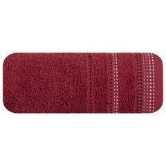 Ręcznik z bawełny z ozdobnym stebnowaniem 50x90cm - 50 X 90 cm - bordowy 2