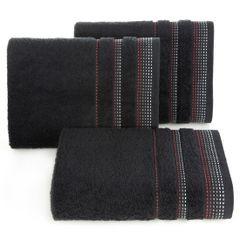 Ręcznik z bawełny z ozdobnym stebnowaniem 50x90cm - 50 X 90 cm - czarny 1