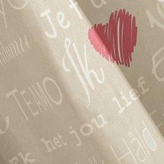 Zasłona beżowa nadrukowane serca i napisy 140x250 cm przelotki - 140 X 250 cm - beżowy/czerwony 1
