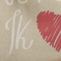 Zasłona beżowa nadrukowane serca i napisy 140x250 cm przelotki - 140 X 250 cm - beżowy/czerwony 4