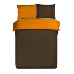 Komplet pościel z makosatyny 160 x 200 cm, 2 szt. 70 x 80 cm dwustronny brązowo-pomarańczowa - 160x200 - Brązowy / Pomarańczowy 3