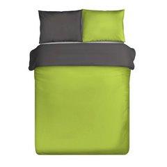 Komplet pościel z makosatyny 160 x 200 cm, 2 szt. 70 x 80 cm dwustronny zielono-stalowy - 160 X 200 cm, 2 szt. 70 X 80 cm - limonkowy/stalowy 2