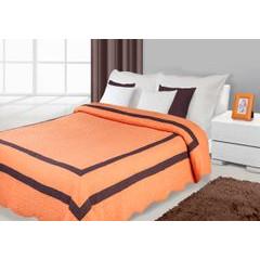 Narzuta pomarańczowa z brązowymi wstawkami 170x210cm - 170 X 210 cm - pomarańczowy 1