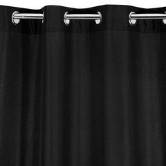 Czarna gładka zasłona z matowej satyny 140x250 przelotki - 140 X 250 cm - czarny 6