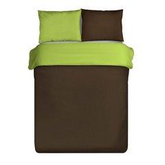 Komplet pościel z makosatyny 160 x 200 cm, 2 szt. 70 x 80 cm dwustronny brązowo-zielony - 160x200 - Brązowy / Zielony 2