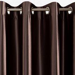 Brązowa ZASŁONA SATYNOWA lśniąca na przelotkach 140x250 cm - 140x250 - brązowy 2