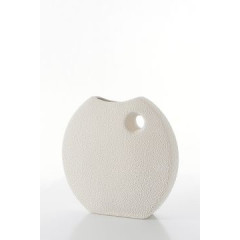 Wazon ceramiczny o płaskim kształcie 27 - 27 X 7 X 27 cm - ecru 1