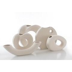 Wazon ceramiczny o płaskim kształcie 27 - 27 X 7 X 27 cm - ecru 2