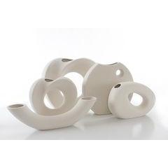Wazon ceramiczny o płaskim kształcie 27 - 27 X 7 X 27 cm - ecru 5
