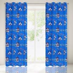 Niebieska zasłona dziecięca motyw Myszki Mickey 140x245 przelotki - 140x245 - Niebieski 1