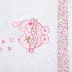 Ręcznik dziecięcy z aplikacją z aplikacją z różowym słonikiem 50x90cm - 50x90 - kremowy / różowy 1