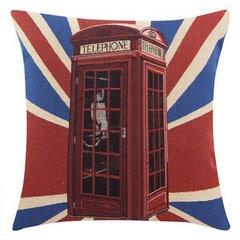 Poszewka motyw Londyn czerwononiebieski 45 X 45 cm - 45x45 - czerwony / niebieski 1