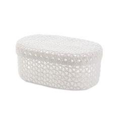 Koszyczek koronkowy z wieczkiem 25 x 16 x 10 cm 100% bawełna - 25 X 16 X 10 cm - biały 1