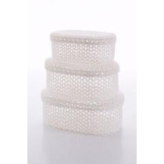 Koszyczek koronkowy z wieczkiem 25 x 16 x 10 cm 100% bawełna - 25 X 16 X 10 cm - biały 2