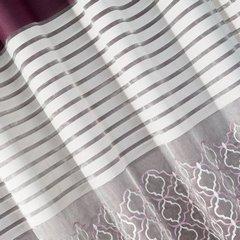 Zasłona w poziome pasy haftowana fiolet+biały przelotki 140x250cm - 140 X 250 cm - fioletowy 3