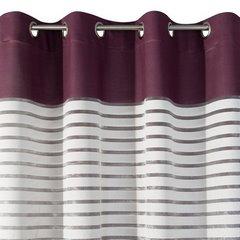 Zasłona w poziome pasy haftowana fiolet+biały przelotki 140x250cm - 140x250 - wrzosowy 5