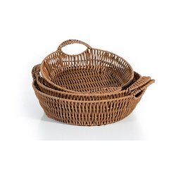 Koszyk dekoracyjny 29 x 9 cm brązowy - ∅ 29 X 9 cm - kremowy 3