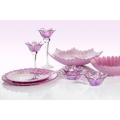 Talerz dekoracyjny różowe szkło  - ∅ 32 X 3 cm - różowy 2