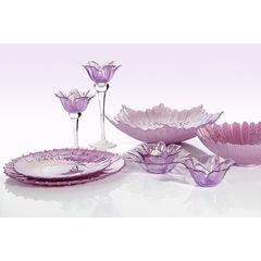Talerz dekoracyjny różowe szkło  - ∅ 32 X 3 cm - różowy 4