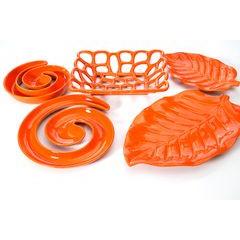 Patera ceramiczna liść pomarańczowy 46 x 29 x 5 cm - 46 X 29 X 5 cm - pomarańczowy 2