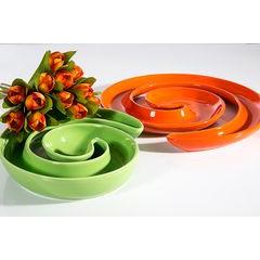 Patera ceramiczna liść pomarańczowy 46 x 29 x 5 cm - 46 X 29 X 5 cm - pomarańczowy 3