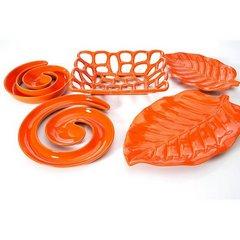 Patera ceramiczna liść pomarańczowy 46 x 29 x 5 cm - 46 X 29 X 5 cm - pomarańczowy 5