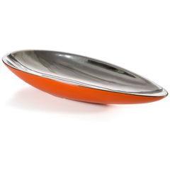 Misa ceramiczna łódka pomarańczowo-srebrna  - 42 X 17 X 7 cm - pomarańczowy 1