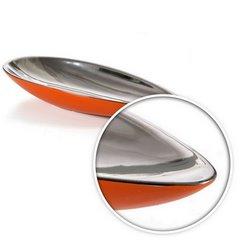 Misa ceramiczna łódka pomarańczowo-srebrna  - 42 X 17 X 7 cm - pomarańczowy 6