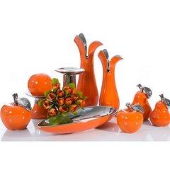 Misa ceramiczna łódka pomarańczowo-srebrna  - 42 X 17 X 7 cm - pomarańczowy 9