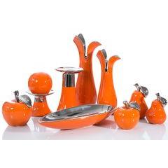 Misa ceramiczna łódka pomarańczowo-srebrna  - 42 X 17 X 7 cm - pomarańczowy 2