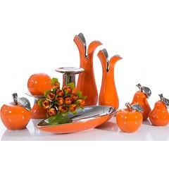 Misa ceramiczna łódka pomarańczowo-srebrna  - 42 X 17 X 7 cm - pomarańczowy 3