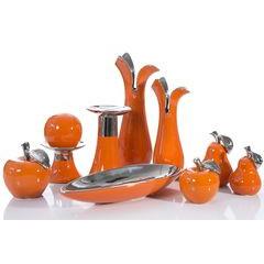 Misa ceramiczna łódka pomarańczowo-srebrna  - 42 X 17 X 7 cm - pomarańczowy 5