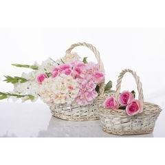 Koszyk z naturalnej wikliny 46 x 35 x 15 cm biało-złoty - 46 X 35 X 15 cm - biały/złoty 3