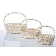 Koszyk z naturalnej wikliny 46 x 35 x 15 cm biało-złoty - 46 X 35 X 15 cm - biały/złoty 4