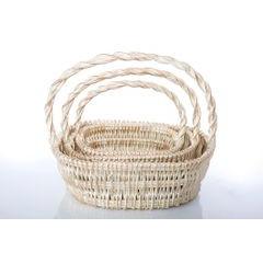 Koszyk z naturalnej wikliny 46 x 35 x 15 cm biało-złoty - 46 X 35 X 15 cm - biały/złoty 2