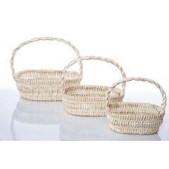 Koszyk z naturalnej wikliny 46 x 35 x 15 cm biało-złoty - 46 X 35 X 15 cm - biały/złoty 5