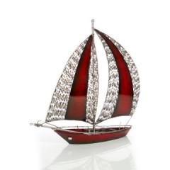 Figurka dekoracyjna żaglówka z metalu hand made 60 cm - 58 X 15 X 60 cm - czerwony/srebrny 1