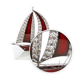 Figurka dekoracyjna żaglówka z metalu hand made 60 cm - 58 X 15 X 60 cm - czerwony/srebrny 7