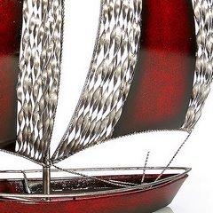 Figurka dekoracyjna żaglówka z metalu hand made 60 cm - 58 X 15 X 60 cm - czerwony/srebrny 8