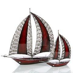 Figurka dekoracyjna żaglówka z metalu hand made 60 cm - 58 X 15 X 60 cm - czerwony/srebrny 2