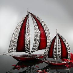 Figurka dekoracyjna żaglówka z metalu hand made 60 cm - 58 X 15 X 60 cm - czerwony/srebrny 3