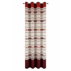 Wzorzysta zasłona do salonu biały czerwony przelotki 140x250 cm - 140 X 250 cm - biały/pomarańczowy 5