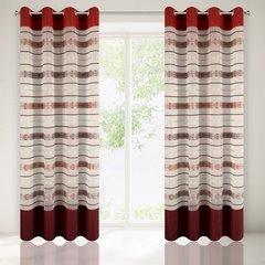 Wzorzysta zasłona do salonu biały czerwony przelotki 140x250 cm - 140 X 250 cm - biały/pomarańczowy 2