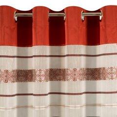 Wzorzysta zasłona do salonu biały czerwony przelotki 140x250 cm - 140 X 250 cm - biały/pomarańczowy 6