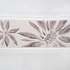 Elegancka zasłona z haftem na przelotkach 140x250 cm - 140 X 250 cm - brązowy 2