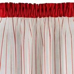 Oryginalna kremowa zasłona w czerwone prążki na taśmie 140x250 cm - 140 X 250 cm - kremowy/czerwony 2