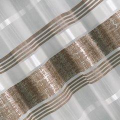 Firana gotowa poziome pasy 140x250cm organdyna - 140 X 250 cm - brązowy 3